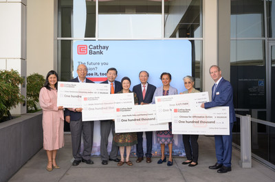 Cathay Bank Foundation presented donation checks of $100,000 each to Connie Chung Joe of Asian Americans Advancing Justice–Los Angeles (left 1), Stewart and Patricia Kwoh of Asian American Education Project (left 3 and 4), and Manjusha Kulkarni of Stop AAPI Hate, Asian Pacific Policy and Planning Council and Chinese for Affirmative Action (right 3) to support these nonprofits to promote diversity and combat anti-Asian hate.