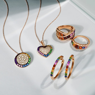 POSITIVITY - Rainbows symbolizing rebirth, hope and pride are represented by carefully matched arrays of Le Vian gems, seamlessly blending together