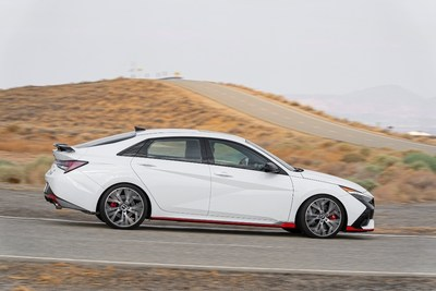 The 2022 ELANTRA N is driven on the Hyundai Proving Grounds in California City, CA on July 13, 2021.