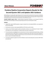 Pembina Pipeline Corporation Reports Results for the Second Quarter 2021 and Updates 2021 Guidance (CNW Group/Pembina Pipeline Corporation)
