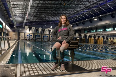 Morgan Stickney will work with Steel Partners to inspire youth to reach their full potential through sports. She has been training for the 2021 Paralympics at Triangle Aquatic Center in Cary, NC. Photograph by Michael Starghill.
