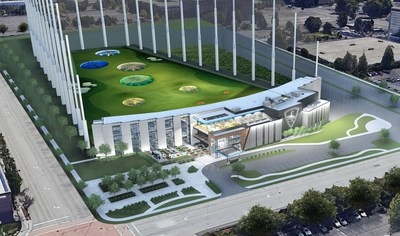 Rendering of the future Topgolf Renton-Seattle entertainment venue, slated to open in 2022.