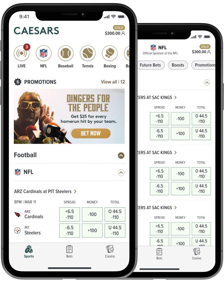 Play like a Caesar in the new Caesars Sportsbook app.