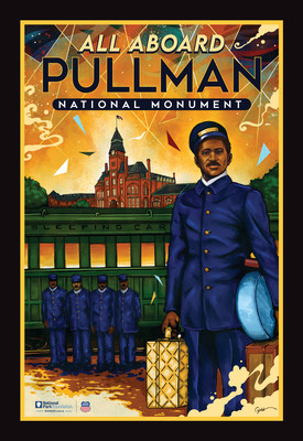 """In celebration of Pullman National Monument, NPF and Union Pacific commissioned local Chicago artist Joe Nelson to create this vintage-style poster honoring the stories of Pullman. Image description: The design features a drawing of a Pullman Porter, in uniform and holding luggage, standing in front of illustrations of a historic Pullman sleeping car, the iconic Clock Tower, and four Pullman Porter colleagues, with the words """"All Aboard Pullman National Monument"""" at the top of the poster."""